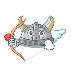 Cupid viking helmet isolated with character vector