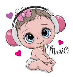 Cute cartoon baby girl with headphones on a white vector