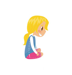 cute smiling blonde girl sitting on the floor vector image