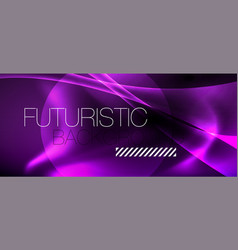 Dark background with neon color waves vector