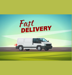 Delivery truck or van for transportation design vector