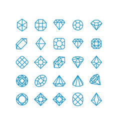 Diamond line icons woman brilliant jewelry vector