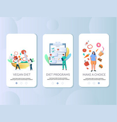 diet mobile app onboarding screens template vector image