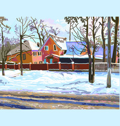Digital painting of rural landscape with houses vector