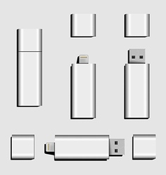 Dual USB Micro USB and USB flash drive vector