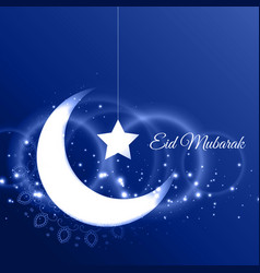 Eid mubarak card with crescent moon on blue vector