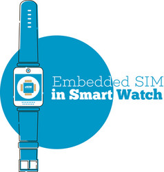 Esim card chip sign on smart watch screen vector