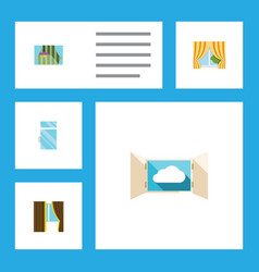 Flat icon frame set of curtain cloud glass frame vector