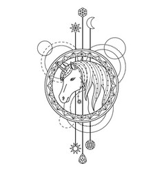 Geometric unicorn symbol vector