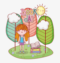 girl read books with trees and sun vector image