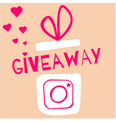 giveaway contest gift box with camera icon vector image