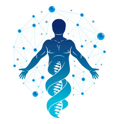 Graphic of human made as dna strands continuation vector
