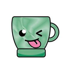 grated funny coffee cup kawaii cartoon vector image