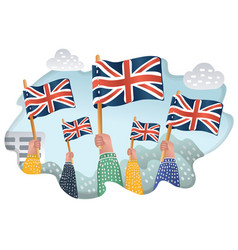 group of people waving uk national flags outdoors vector image