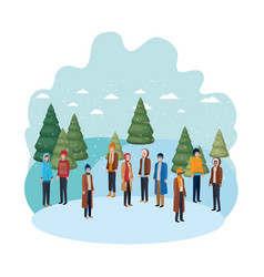 group of people with winter clothes and christmas vector image
