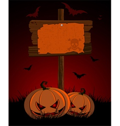 halloween wooden sign and pumpkins vector image