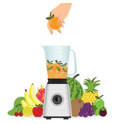 Hand putting orange fruit in blender vector