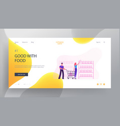 happy couple making purchases in store website vector image