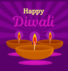 Happy indian divali concept background flat style vector