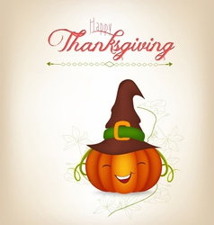 Happy thankgiving with pumpkin greeting card vector