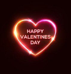happy valentines day text heart shaped neon sign vector image