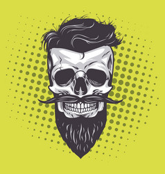 Hipster skull pop art vector