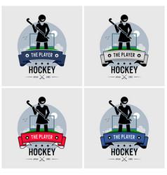 hockey club logo design artwork a female vector image