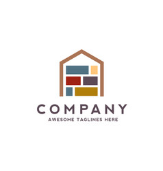 house made from colorful stone bricks logo vector image