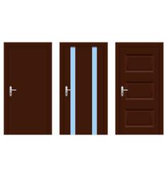 interior doors brown wooden set of designs vector image