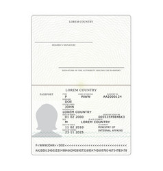 international passport opened passport vector image