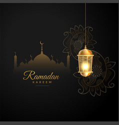 Islamic ramadan kareem wishes greeting in black vector