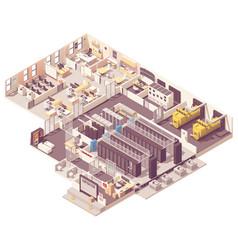 isometric data center interior vector image