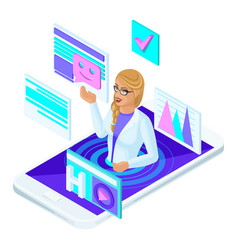 isometric online consultation doctor medicine vector image