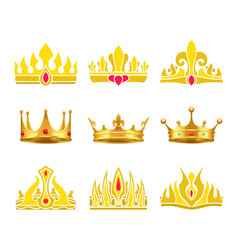 Kings and queens gold crowns inlaid with gems vector
