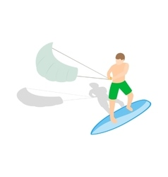 Kitesurfing icon in isometric 3d style vector