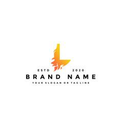 L letter logo fire design vector