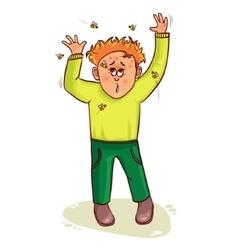 Little cartoon man waves wasps away vector