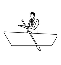Man business paddle success design line vector