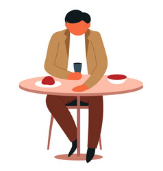 man eating at canteen isolated male character vector image