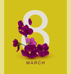 March 8 greeting card template violet flower on vector