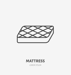 Mattress flat line icon bedding sign vector