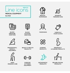 Medical Equipment - line design pictograms set vector