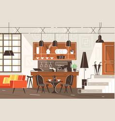 Modern interior cafe vector