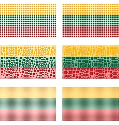 Mosaic Lithuania flag set vector