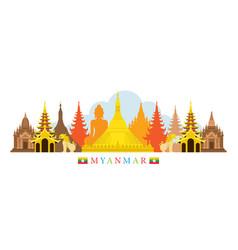 Myanmar architecture landmarks skyline vector