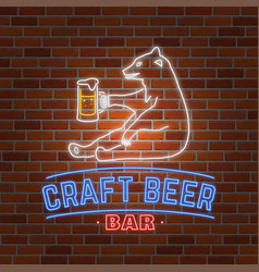 Neon signboard craft beer with bear vector