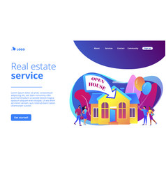 Open house concept landing page vector