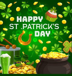 patricks day celebration pot gold and drum vector image