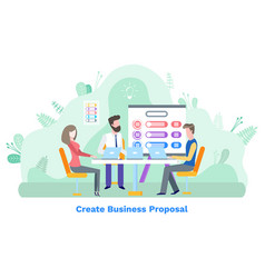 People with laptop business proposal idea vector