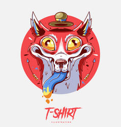 poster card or t-shirt print with crazy fox vector image